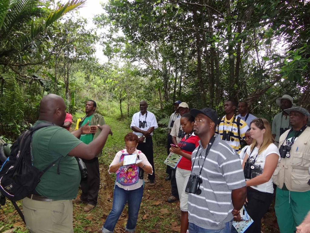 Beny Wilson, training facilitator, talking about guiding in the forest.