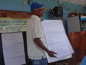 Michael Ollivierre, a local fisherman, presenting to group at Mayreau Island