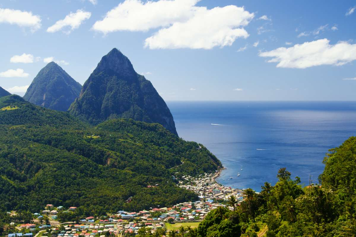 St. Lucia landscape, with Pitons in the background