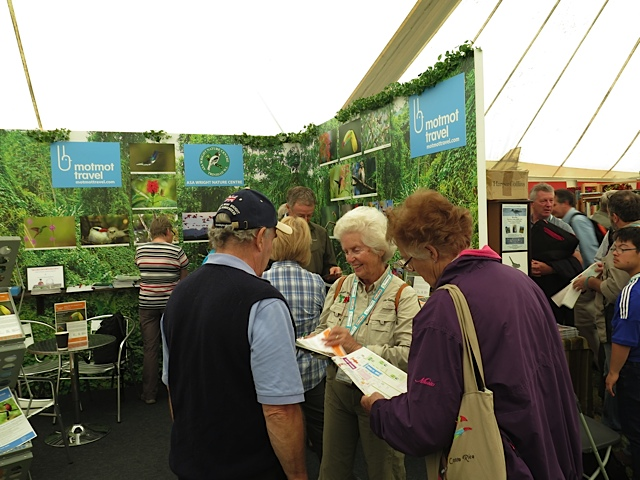 Erika Gates, board member of BirdsCaribbean and owner of Grand Bahama Nature Tours, selling the Bahamas at the British BirdFair.
