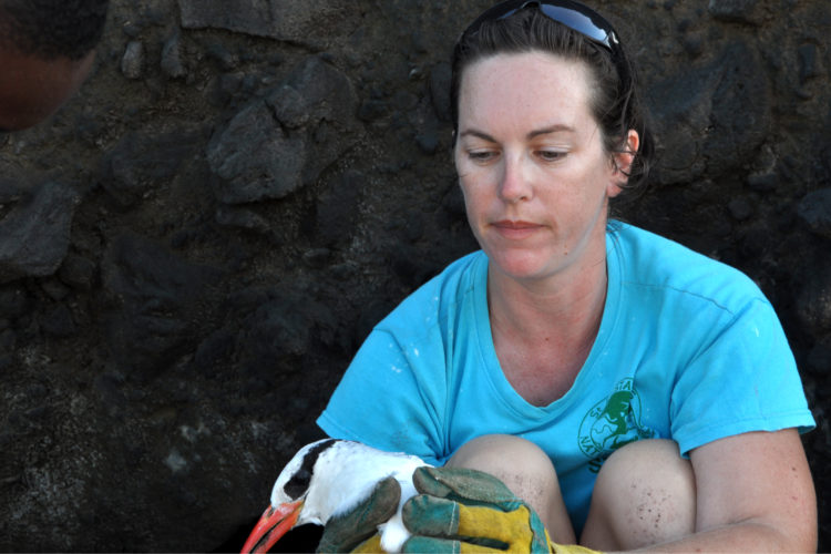 Hannah Madden with Red-billed Tropicbird