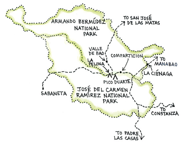 Jarabacoa with Armando Bermúdez and José del Carmen Ramírez National Parks (Map by Dana Gardner)
